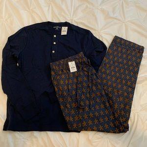 J. Crew Holiday Lounge Set Henley Shirt & PJ Pants